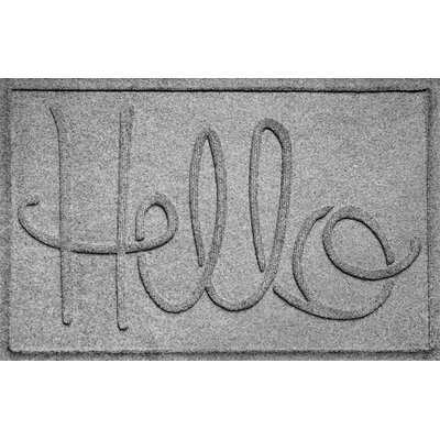 Aqua Shield Hello Doormat Color: Medium Gray