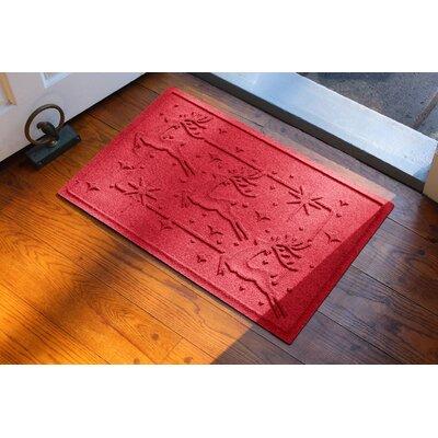 Aqua Shield Reindeer Row Doormat Color: Solid Red