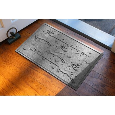 Aqua Shield Reindeer Row Doormat Color: Medium Gray