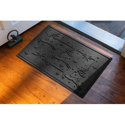 Aqua Shield Reindeer Row Doormat Color: Charcoal
