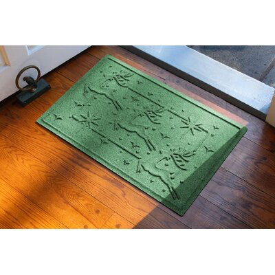 Aqua Shield Reindeer Row Doormat Color: Light Green