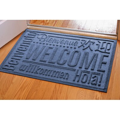 Aqua Shield World Wide Doormat Color: Navy, Rug Size: 2 x 3