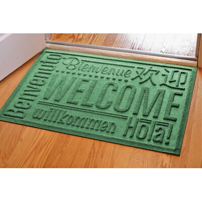 Aqua Shield World Wide Doormat Color: Light Green, Rug Size: 2 x 3