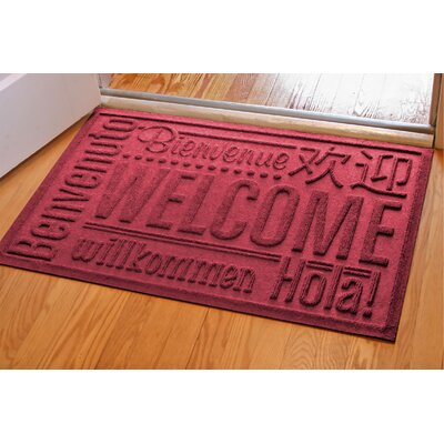 Aqua Shield World Wide Doormat Color: Red/Black, Mat Size: Rectangle 2 x 3