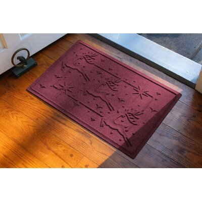 Aqua Shield Reindeer Row Doormat Color: Bordeaux