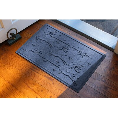 Aqua Shield Reindeer Row Doormat Color: Navy