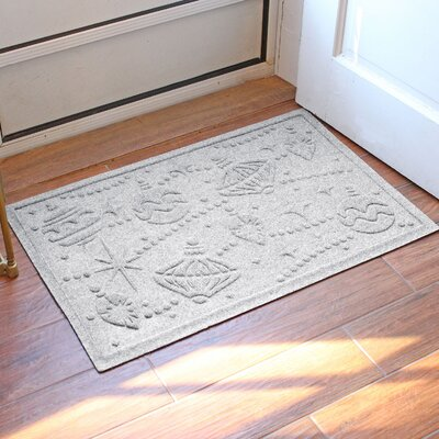 Aqua Shield Ornaments Doormat Color: White
