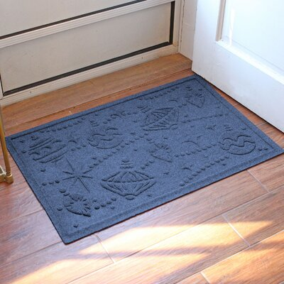 Aqua Shield Ornaments Doormat Color: Navy