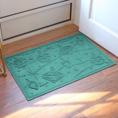 Aqua Shield Ornaments Doormat Color: Aquamarine