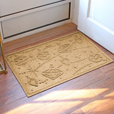 Aqua Shield Ornaments Doormat Color: Gold