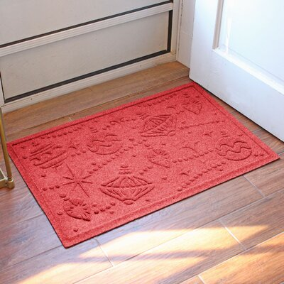 Aqua Shield Ornaments Doormat Color: Solid Red
