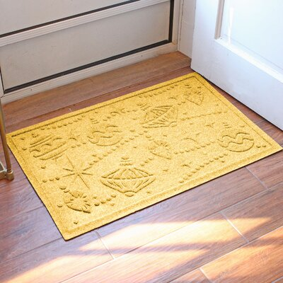 Aqua Shield Ornaments Doormat Color: Yellow