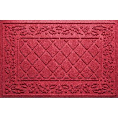 Olivares Diamond Holly Outdoor Doormat Color: Red/Black