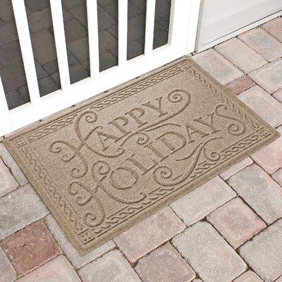 Happy Holidays Outdoor Doormat Color: Camel
