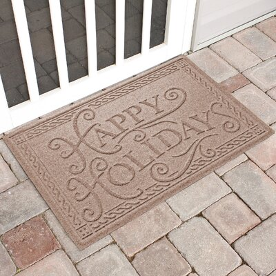 Happy Holidays Outdoor Doormat Color: Medium Brown