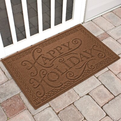 Happy Holidays Outdoor Doormat Color: Dark Brown