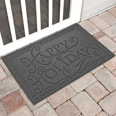 Happy Holidays Outdoor Doormat Color: Charcoal