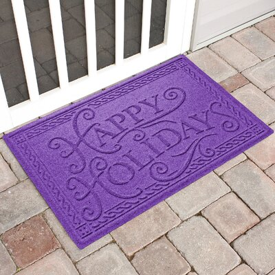 Happy Holidays Outdoor Doormat Color: Purple