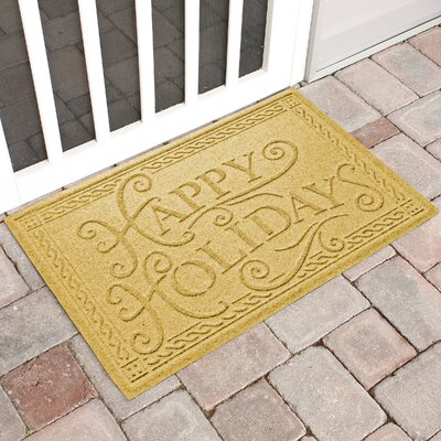 Happy Holidays Outdoor Doormat Color: Yellow