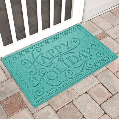 Happy Holidays Outdoor Doormat Color: Aquamarine