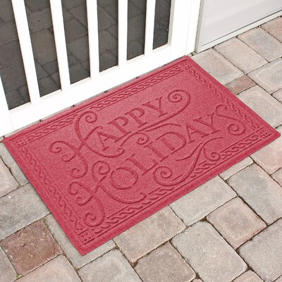 Happy Holidays Outdoor Doormat Color: Solid Red