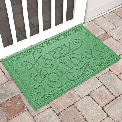 Happy Holidays Outdoor Doormat Color: Light Green