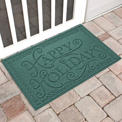 Happy Holidays Outdoor Doormat Color: Evergreen