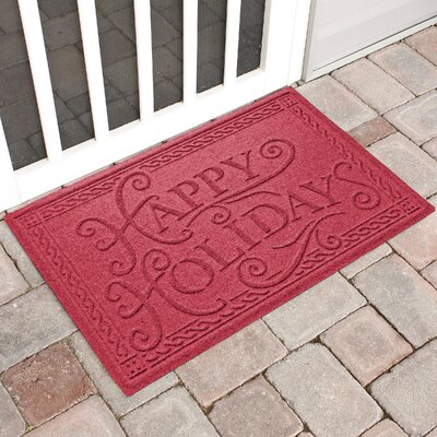 Happy Holidays Outdoor Doormat Color: Red/Black