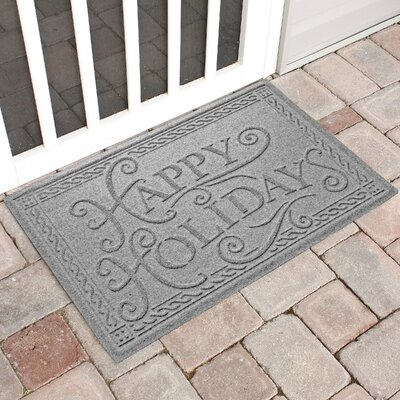 Happy Holidays Outdoor Doormat Color: Medium Gray
