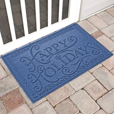 Happy Holidays Outdoor Doormat Color: Navy