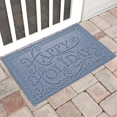 Happy Holidays Outdoor Doormat Color: Bluestone