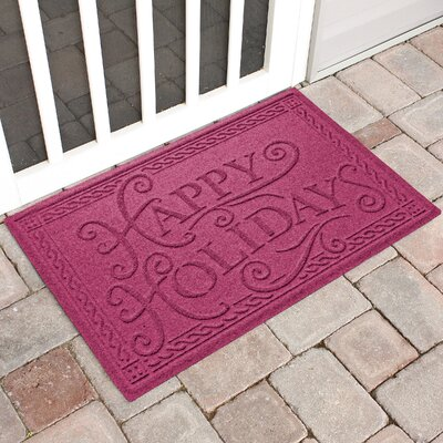 Happy Holidays Outdoor Doormat Color: Bordeaux