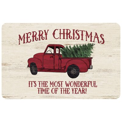 Merry Christmas Truck Kitchen Mat