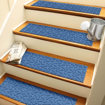 Amald Dogbone Repeat Stair Tread Color: Medium Blue