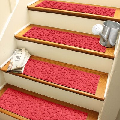 Amald Dogbone Repeat Stair Tread Color: Solid Red