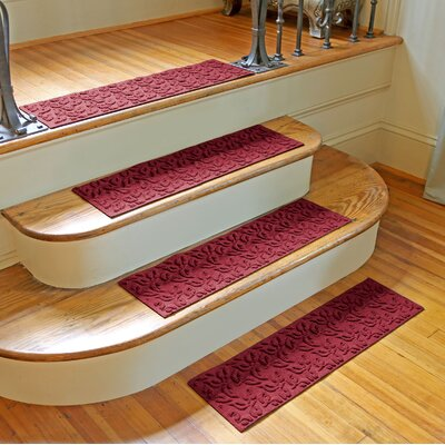 Amald Dogwood Leaf Stair Tread Color: Red/Black