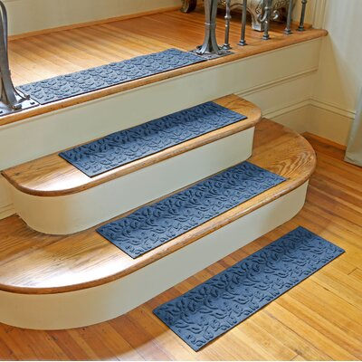 Amald Dogwood Leaf Stair Tread Color: Medium Blue