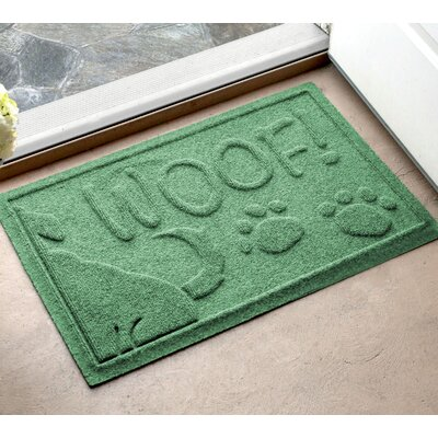 Amald Wag The Dog Doormat Color: Light Green, Mat Size: 2 x 3