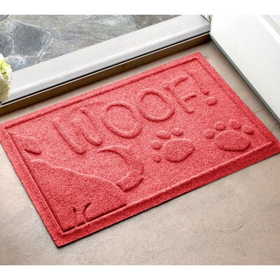 Amald Wag The Dog Doormat Color: Solid Red, Mat Size: 2 x 3