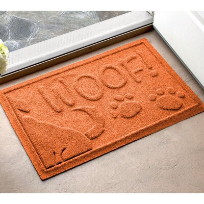 Amald Wag The Dog Doormat Color: Orange, Mat Size: 16 x 24