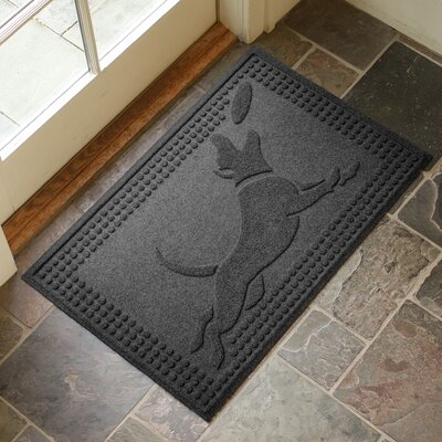 Amald Flying Dog Doormat Color: Charcoal