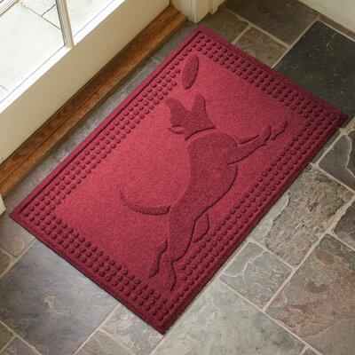 Amald Flying Dog Doormat Color: Red/Black