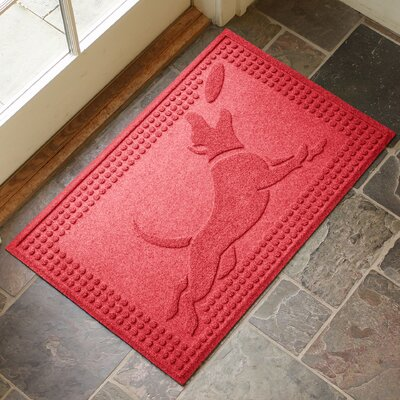 Amald Flying Dog Doormat Color: Solid Red