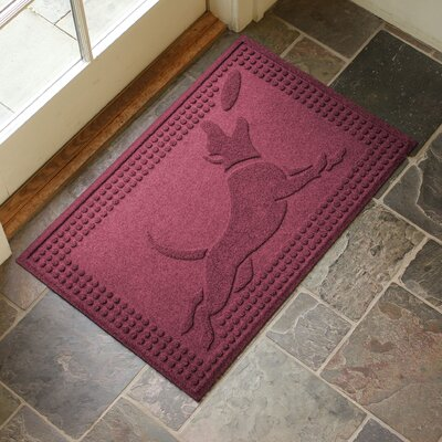 Amald Flying Dog Doormat Color: Bordeaux