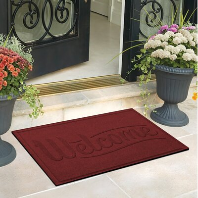 Amald Simple Welcome Doormat Color: Red/Black