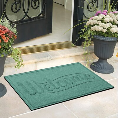 Amald Simple Welcome Doormat Color: Aquamarine