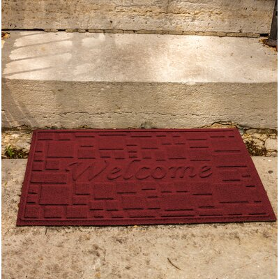 Amald Stone Path Welcome Doormat Color: Red/Black