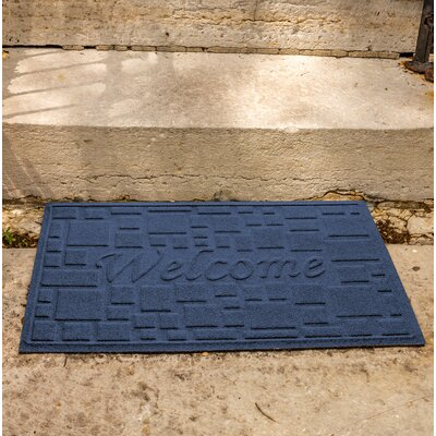 Amald Stone Path Welcome Doormat Color: Navy