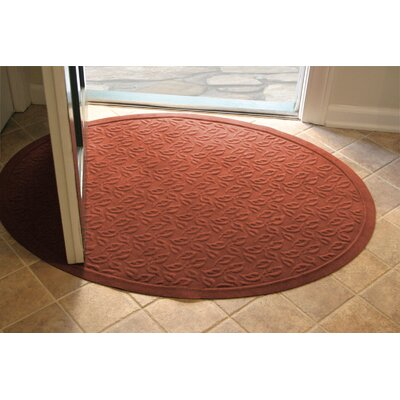 Soft Impressions Dogwood Leaf Doormat Size: Oval 3 x 4, Color: Montego Pepper