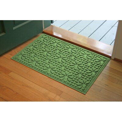 Aqua Shield Light Green Stained Glass Mat Size: 2 x 3